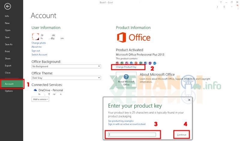 Cách nhập key kích hoạt Office 2013