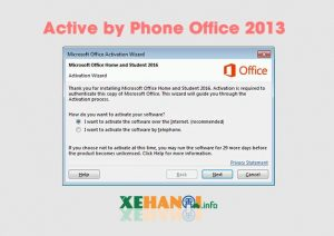 Hướng dẫn active by phone office 2013