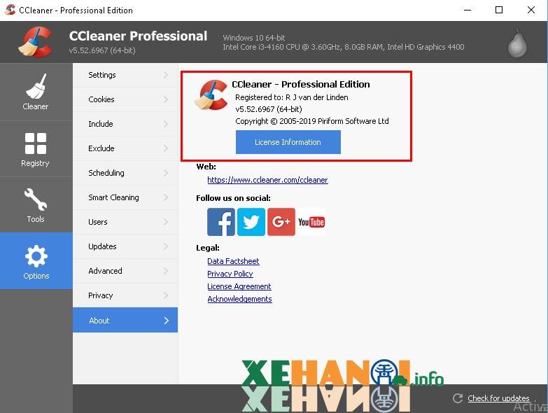 Ccleaner Free sau khi kích hoạt bản quyền thành Ccleaner Professional Edition