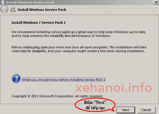 Quá trình cài đặt bản Windows 7 SP1