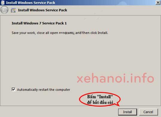 Cài đặt bản nâng cấp Windows 7 SP1
