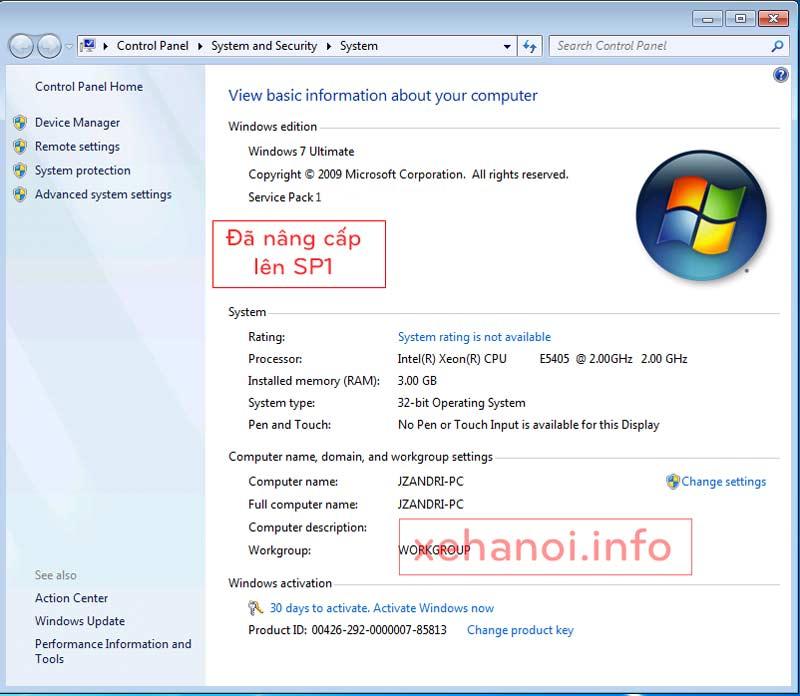 Phiên bản Windows 7 Service Pack 1 đã được nâng cấp