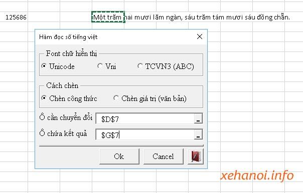 Chức năng chuyển số thành chữ trong vnTools