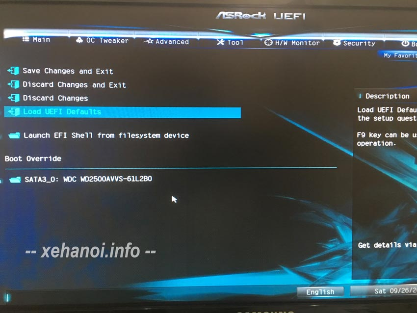 Load UEFI defaults trên main Asrock