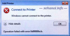Lỗi Windows cannot connect to the printer