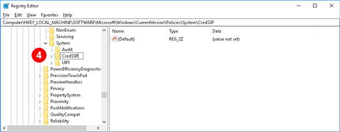 Đặt tên key là CredSSP