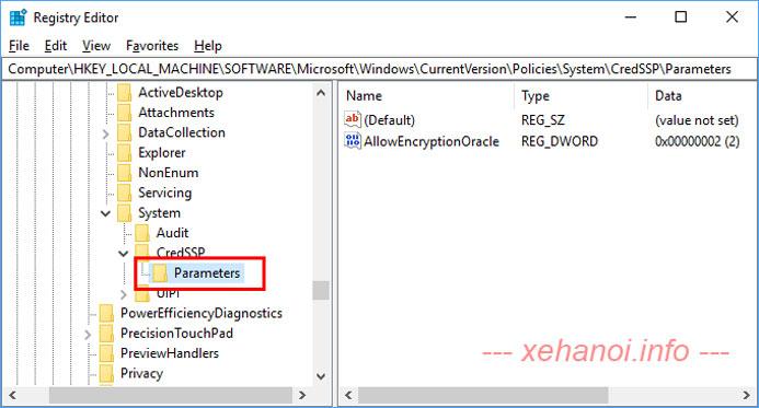 Thêm key Parameters bên trong key CredSSP