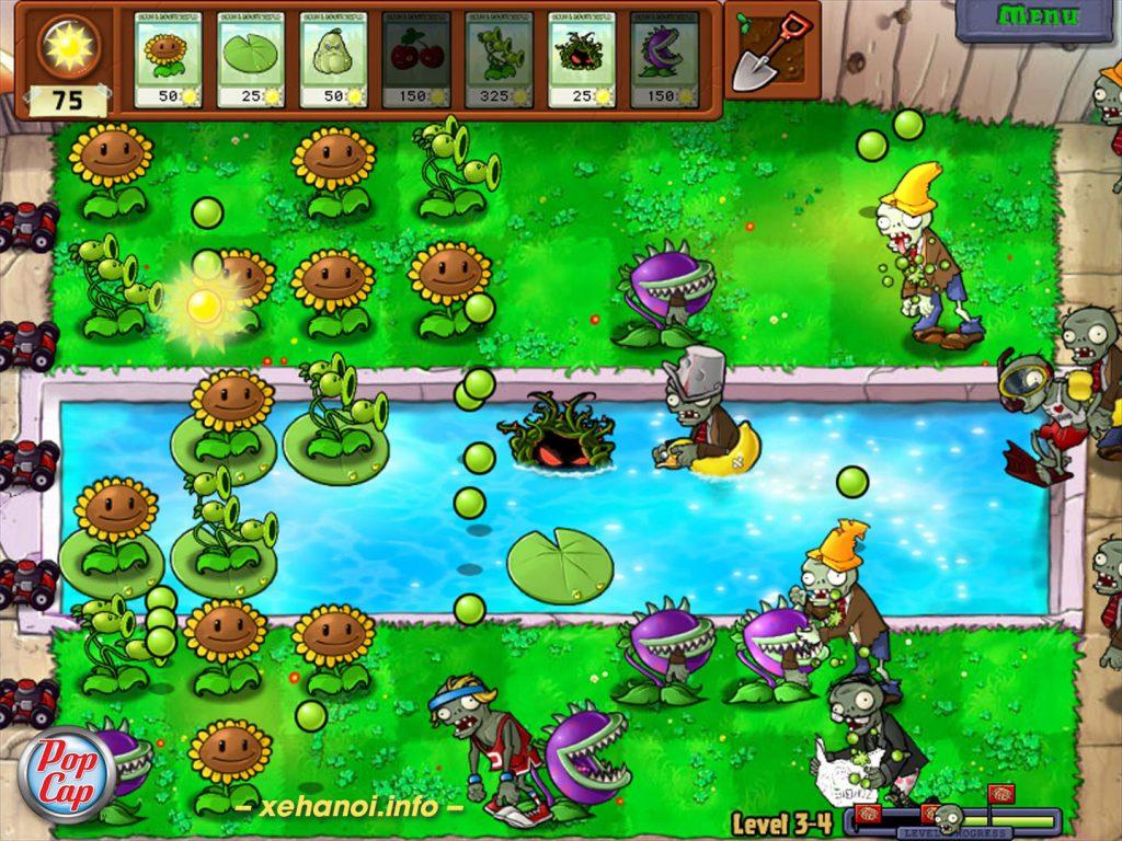 Một bàn chơi trong game Plant and Zombie