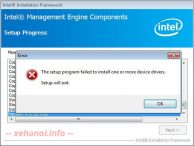 Lỗi The setup program failed to install one or more device drivers