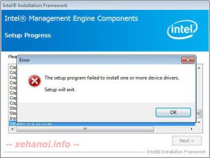 The setup program failed to install one or more device drivers. Setup will exit.