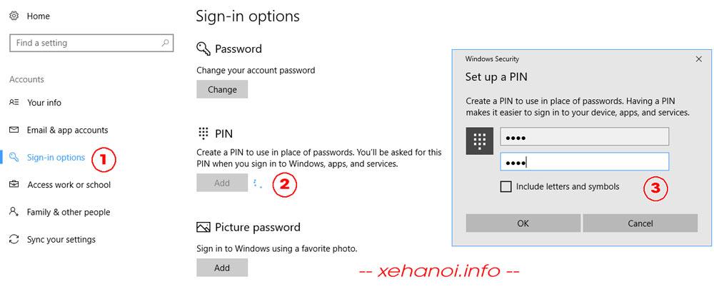 Tùy chọn cài đặt mã PIN trong Sign-in Options