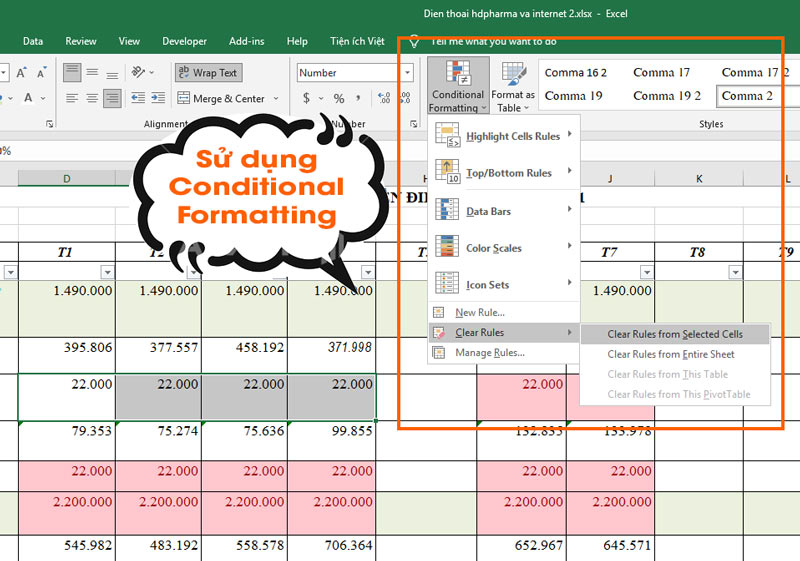 Công cụ Conditional Formatting