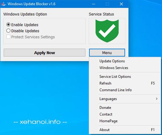 Giao diện tiện ích Windows Update Blocker